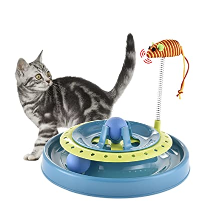 Yunt Cat Toy Spring Mouse Cat Teasing Turnplate Cat Roller Toy Interactive Toys Training Exercise Mouse