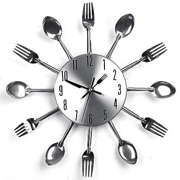 Relojes De Pared Decoración Del Hogar Reloj De Pared Cubiertos Utensilios De Cocina Cuchara Tenedor Relojes Personalidad Creativa Metal Restaurante ...