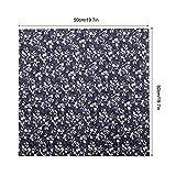TOPINCN 7 unids 50 * 50 cm Telas de Algodón DIY Puntos Florales Cuadrados Precortados Quarter Bundle Patchwork Textiles para El Hogar para Coser (Azul)