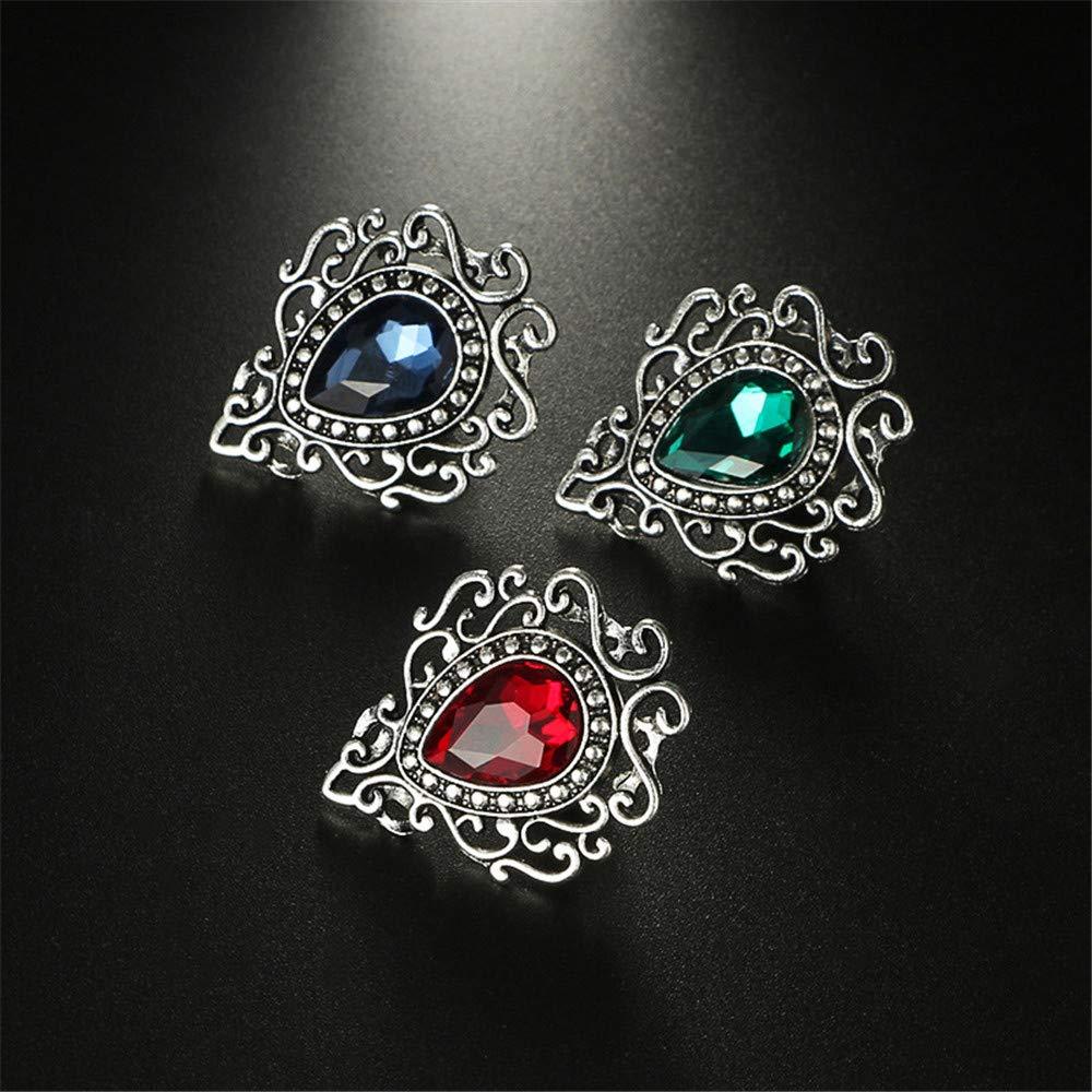 3 Pcs Reizteko Retro Hollow Flower Waterdrop Gemstone Brooch for Women
