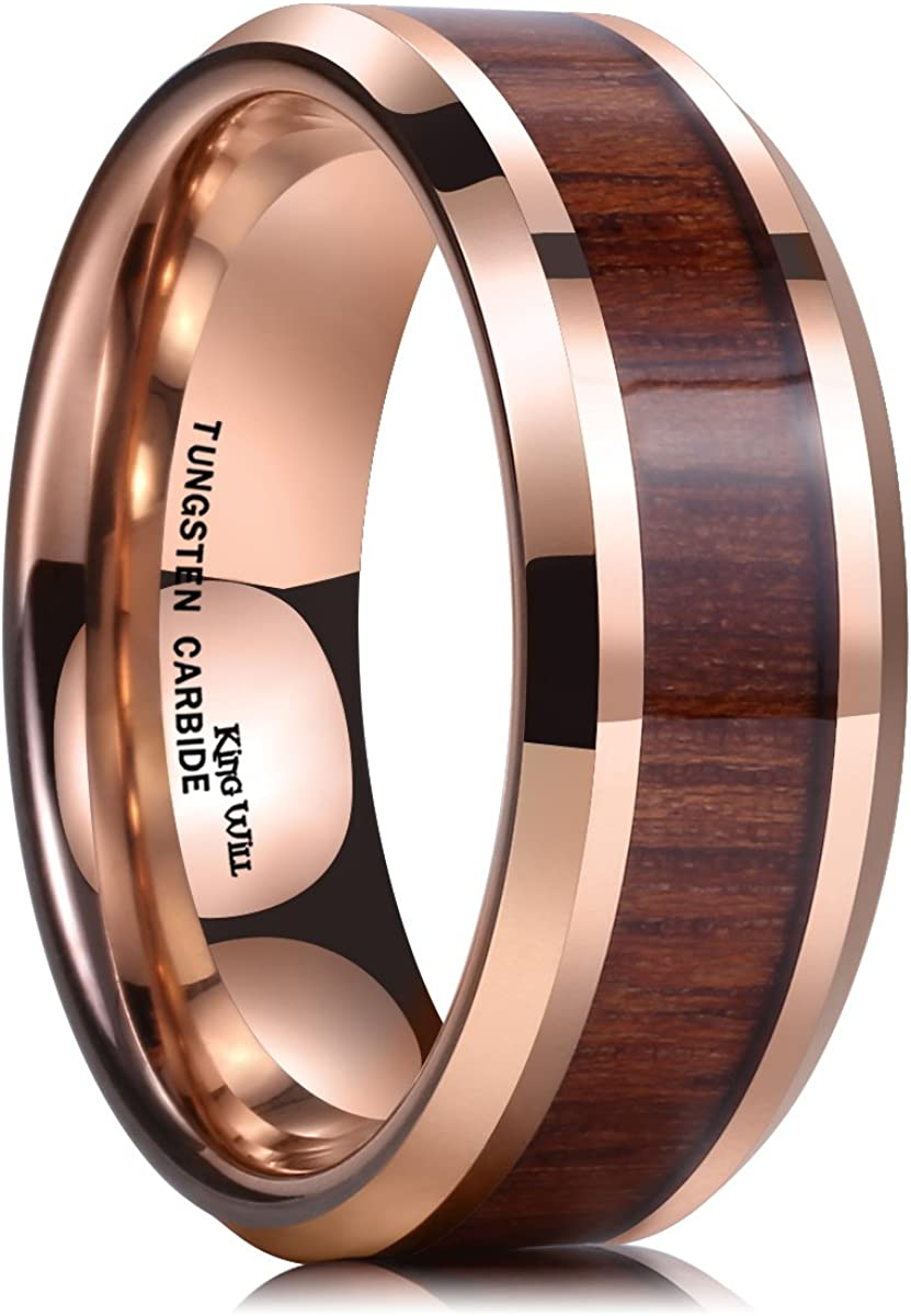 King Will Nature Koa Wood Inlay Tungsten Carbide Wedding Ring 8mm Rose Gold/Blue/Black/Silver High Polished Comfort Fit