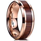 King Will NATURE Koa Wood Inlay Tungsten Carbide Wedding Ring 8mm Rose Gold High Polished Comfort Fit