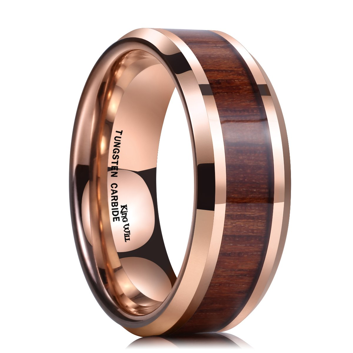 King Will NATURE Koa Wood Inlay Tungsten Carbide Wedding Ring 8mm Rose Gold High Polished Comfort Fit OY-R053-VARIATION
