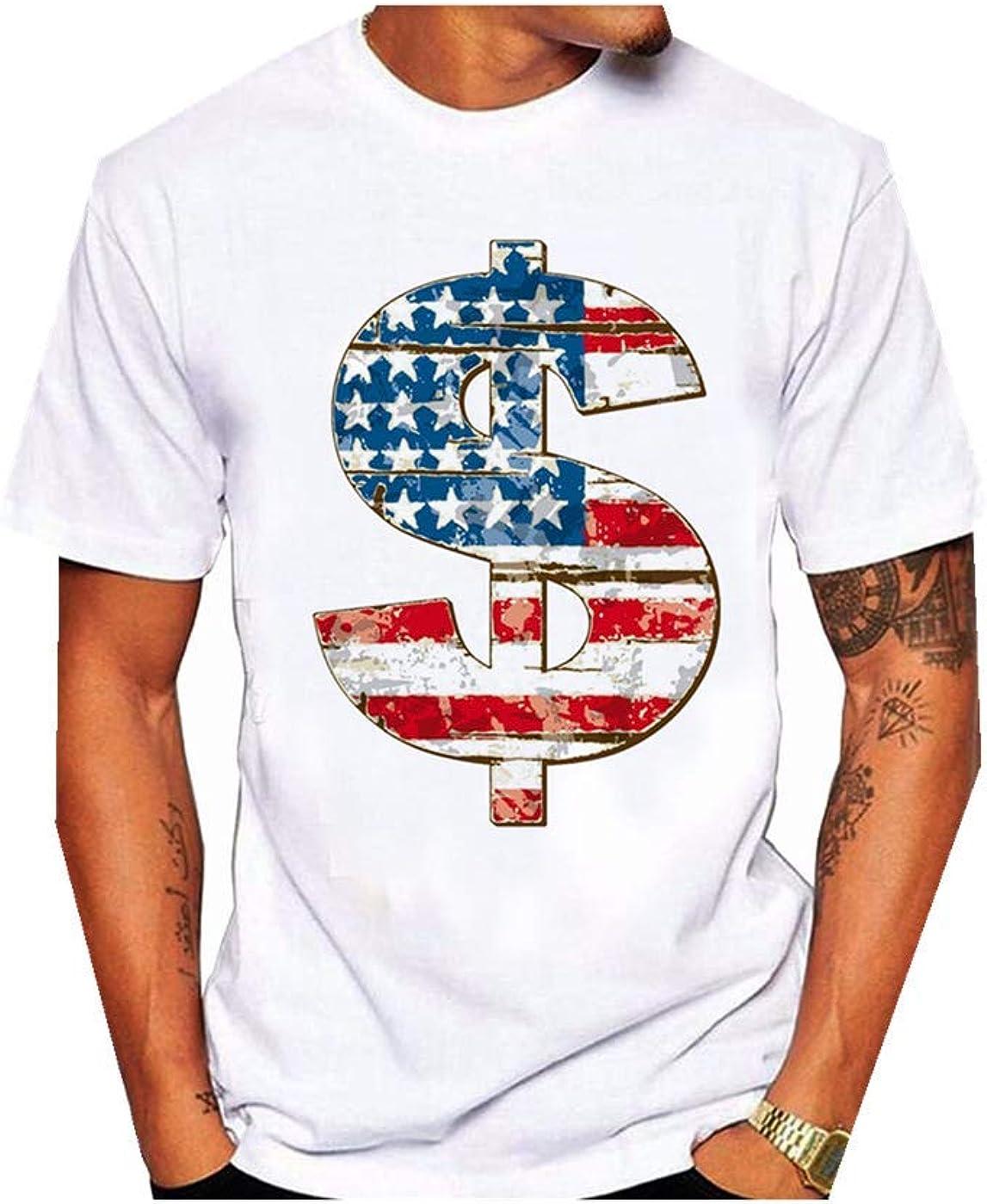 Giulot All Over Print American Flag Military Army Mens T Shirt for Mens T Shirts U.S.A Tee Dollar Best 1776 Shirt Tank