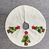16 inch Small White Burlap Christmas Tree Skirt with 3D Christmas Tree for Christmas Home Decorations