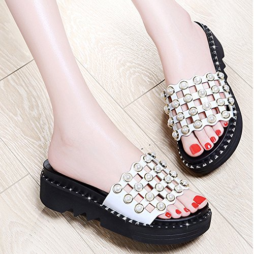 Open Hollow White Beaded Cozy Fashion ZHIRONG Slippers White Size EU36 Color Beach Roman Platform Women's UK4 Toe Sandals Shoes Summer Shoes Shoes CN36 5CM xIqYcYF