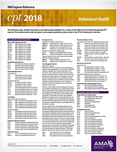Amazon Com Cpt 2018 Express Reference Card Behavioral Health Ebook