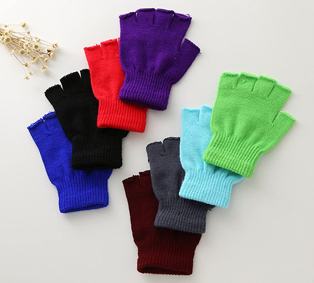 Small X/&F Boys and Girls Solid Knitted Half Finger Mittens Typing Gloves