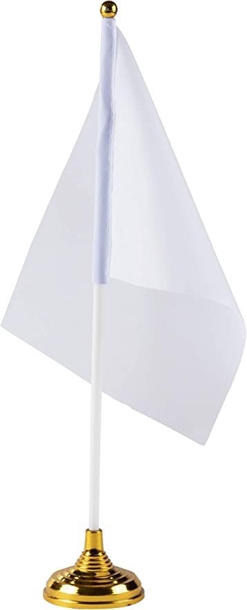 Banderas de escritorio blancas con soportes, bandera de bricolaje (8.5 x 5.5 pulgadas, 24 unidades): Amazon.es: Hogar