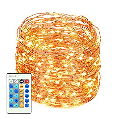 LED Fairy Lights with Remote Control 99ft with 300 LEDs Dimmable Fairy String Lights for Bedroom, Patio, Indoor/Outdoor Waterproof Copper Lights for Birthday, Wedding