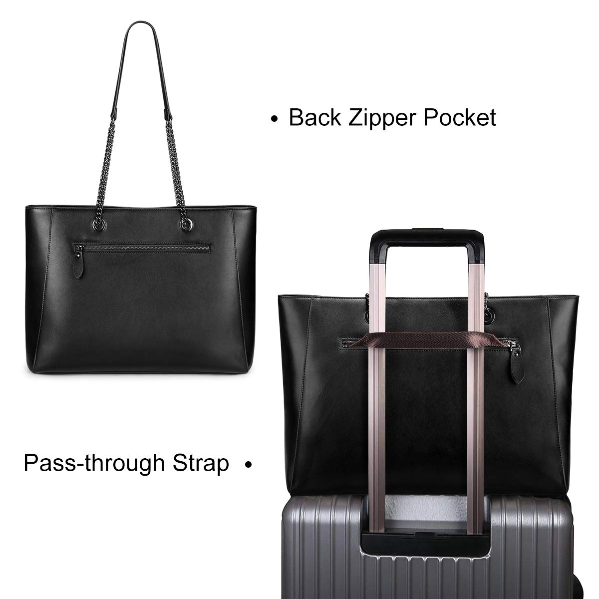 S-ZONE Women Leather Tote Bag Genuine Leather Shoulder Bag Fit Up to 15.6 in Laptop by S-ZONE (Image #3)