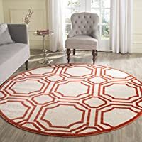 Safavieh Amherst Collection AMT411F Ivory and Orange Indoor/ Outdoor Round Area Rug (7 Diameter)
