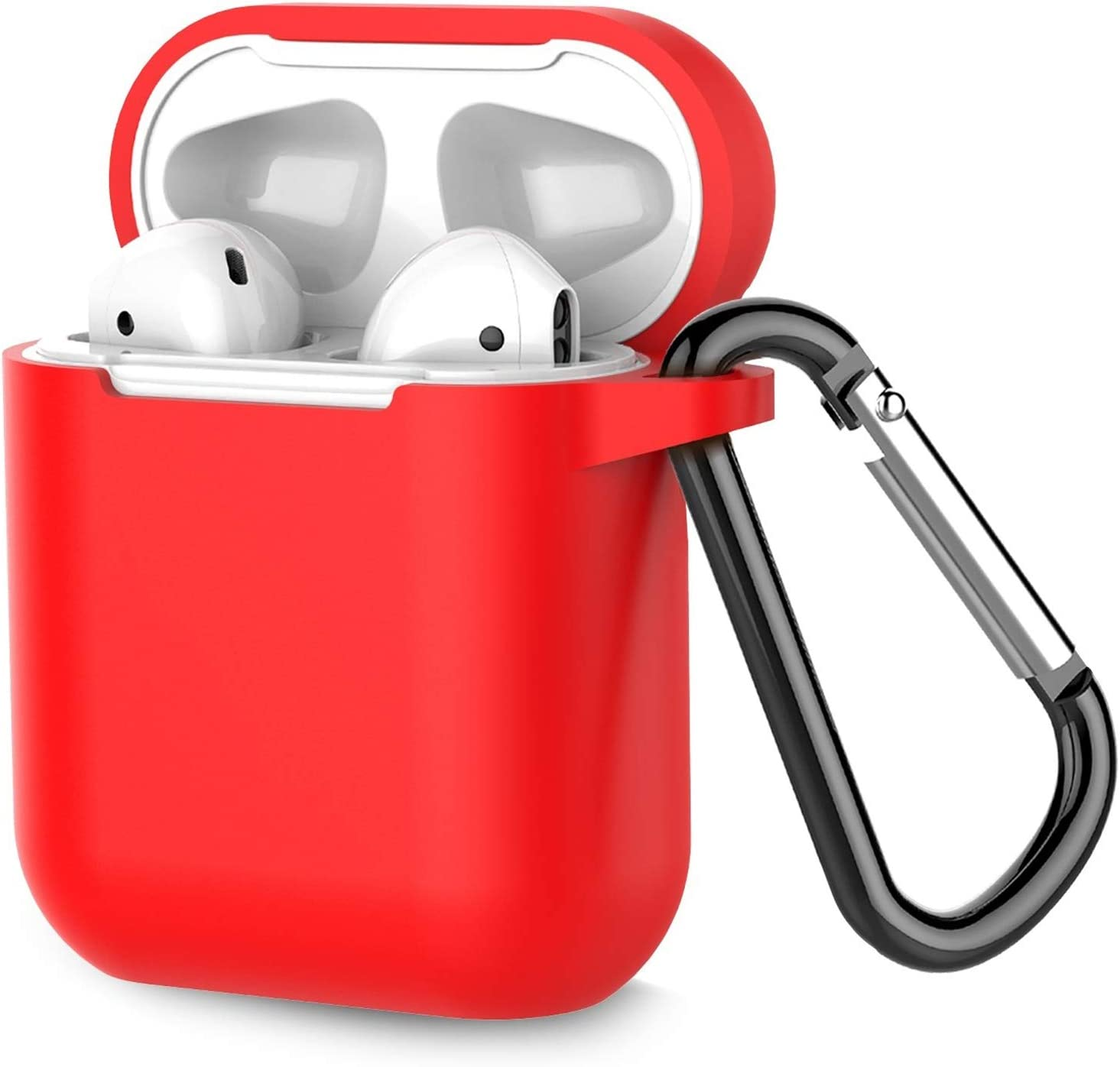 Coffea Protective Silicone Case with Keychain for Apple AirPods 1 & 2 (Front LED Not Visible) (Red)