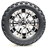 Golf Cart 12'' ''Diesel'' Machined and Black Wheel and 23 x 10.5-12 Golf Cart (6-PLY) ''X-Trail'' All Terrain Tire Combo- -+ GTW Quality Lift Kit Option ((Electric) EZGO RXV, Lift Kit)