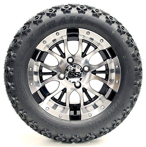 Golf Cart 12'' ''Diesel'' Machined and Black Wheel and 23 x 10.5-12 Golf Cart (6-PLY) ''X-Trail'' All Terrain Tire Combo- -+ GTW Quality Lift Kit Option ((2000.5+) EZGO TXT, Lift Kit) by Golf Cart King