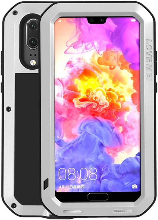 Huawei P20 Funda, Love Mei Antichoque Al Aire Libre Tarea Pesada Híbrido Aluminio Metal Armadura Antipolvo Carcasas para Huawei P20 5.8 Pulgada con Protector de Pantalla de Vidrio Templado (Plata)