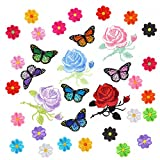#7: Coopay 34 Pieces Embroidery Applique Patches Sunflowers Butterfly Rose Flowers Iron on Patches for Arts Crafts DIY Decor, Jeans, Jackets, Clothing, Bags