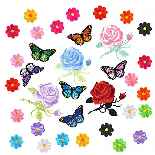 Coopay 34 Pieces Embroidery Applique Patches Sunflowers Butterfly Rose Flowers Iron on Patches for Arts Crafts DIY Decor, Jeans, Jackets, Clothing, Bags