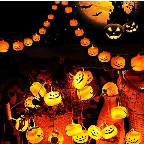 Difini Halloween Lights, Battery Operated Outdoor String Lights,10ft 20 LED 3D Pumpkin Lanterns Halloween Decorations, Orange Jack-O-Lantern Halloween String Light for Halloween Party - Warm White