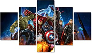 DJSYLIFE 5 Piece Super Hero Canvas Wall Art Painting for Living Room Home Decor Movie Poster Artwork Unframed (No Frame)