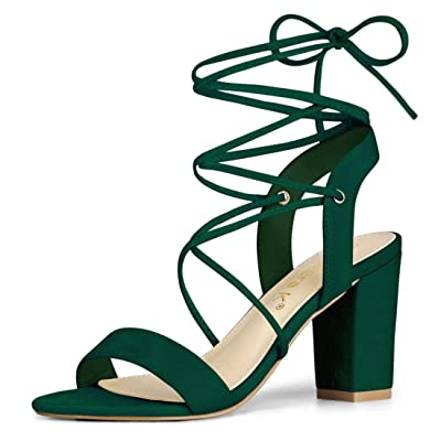 Allegra K Women's Lace Up Block High Heels Sandals | Heeled Sandals