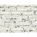 Mayflower Wallpaper Monohassett (Graphite) White Distressed Brick Realistic