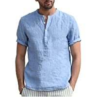 Zrom T Shirt for Men Stylish,Men Home Pure Color Button Linen Solid Short Sleeve Retro TShirts Tops Blouse