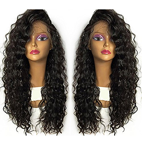 Curly Loose Wave Synthetic Wigs Lace Front Human Hair Fiber Fluffy Long Hair Black Color Heat Resistant Free Style& Natural Looking Wig Replacement Heavy Density for Women 24 - Me Store Near Warehouse