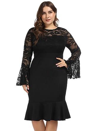 b01de19e24 Hanna Nikole Womens Bell Sleeves Lace Top Plus Size Cocktail Party Mermaid  Dress