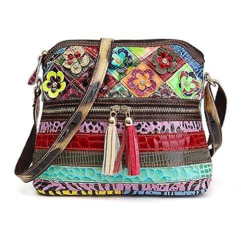 OURBAG Women's Lambskin Leather Multicolor Tote Crossbody Shoulder Bag Flower Medium - Lambskin Leather Tote Bag