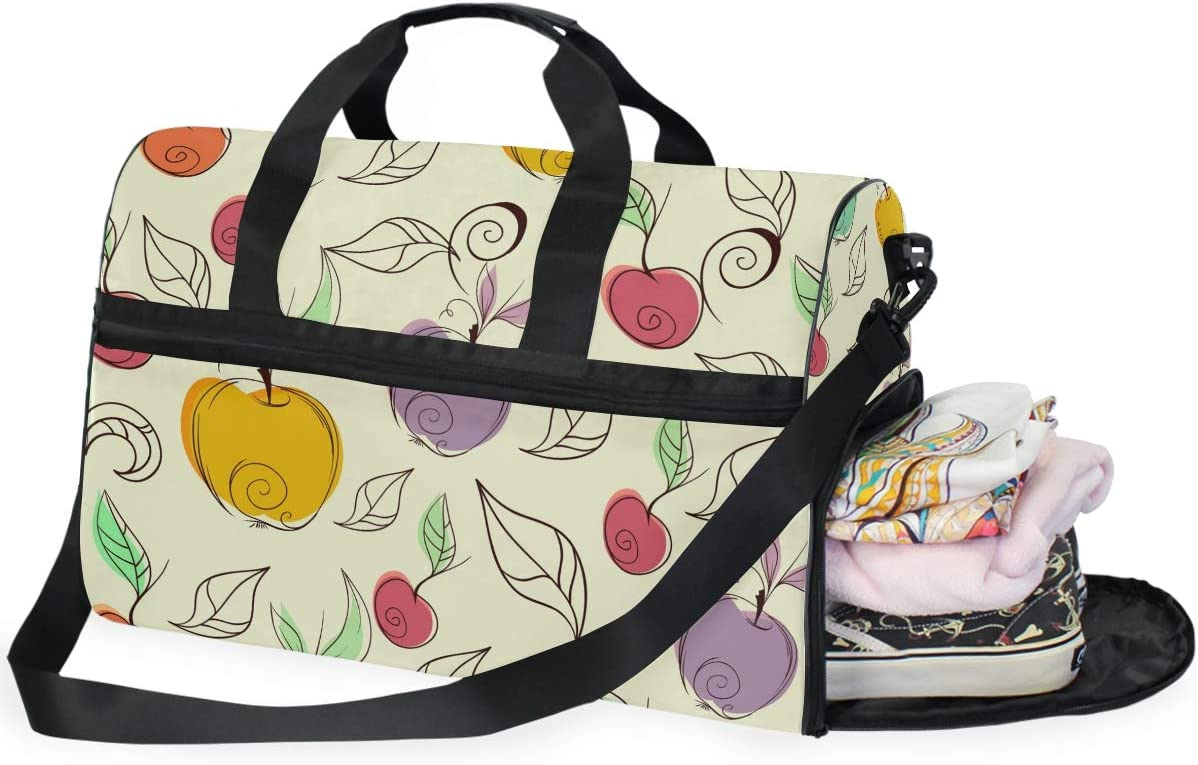 FAJRO Gym Bag Travel Duffel Express Weekender Bag Colorful Apples Pattern Carry On Luggage with Shoe Pouch
