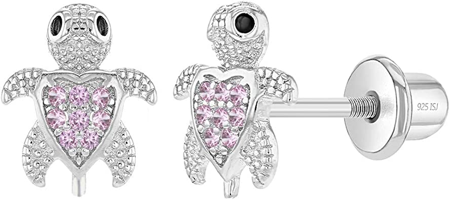 Sterling Silver Childrens Pink Cubic Zirconia Open Heart Earrings