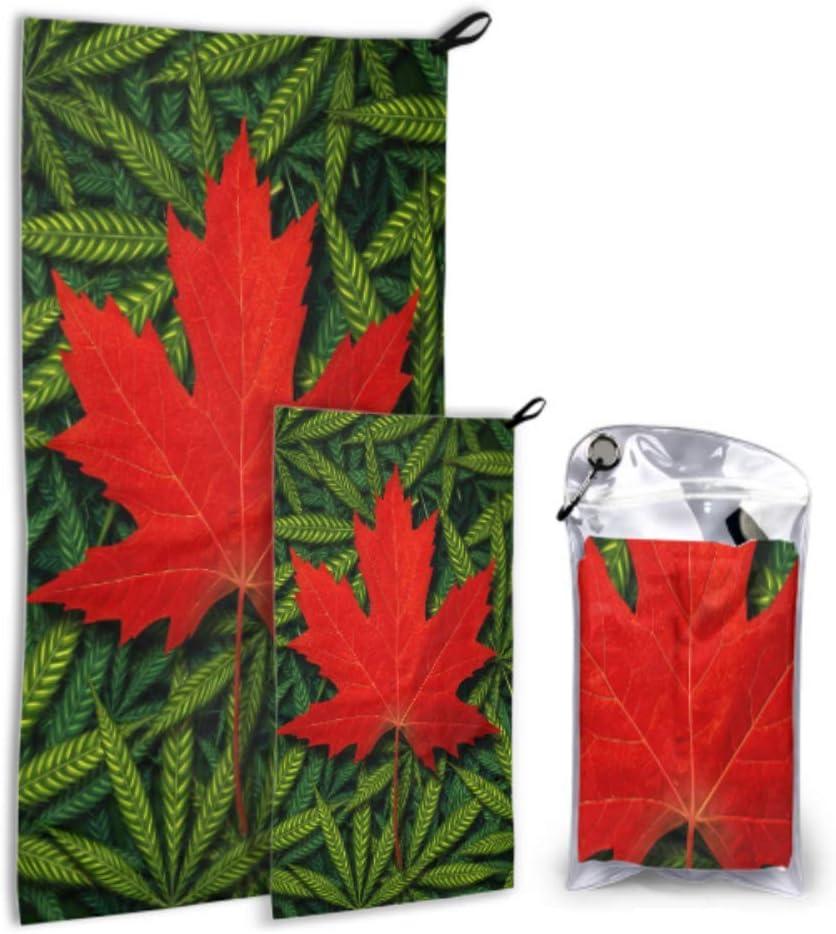Rtosd Concepto de Marihuana Canadiense y Canadá Cannabis Law 2 Pack Microfibra Ligero Toalla de Playa Juego de Toallas de Ducha Secado rápido Lo Mejor para el Gimnasio Viaje Mochilero Yoga Fitnes