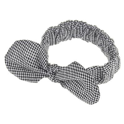 2PCS Baby Girl's Elastic Cord Grids Bowknot Headbands