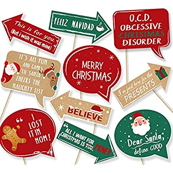 amazon com 20ct christmas party photo booth props funny xmas