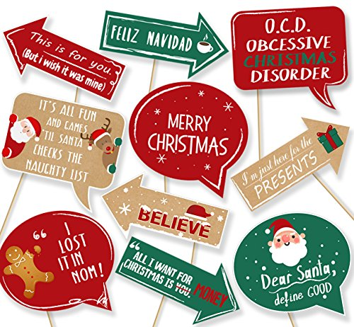 20Ct Christmas Party Photo Booth Props - Funny Xmas Holiday Decorations Supplies ()
