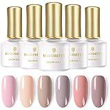 BORN PRETTY UV Gel Nail Polish Set, 12 Bottles 6ml, Nude Series Pure Color, Soak Off Nail Art Gel Polish