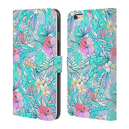 Officiel Micklyn Le Feuvre Joli Pastel Hawaïen Florals Étui Coque De Livre En Cuir Pour Apple iPhone 6 Plus / 6s Plus