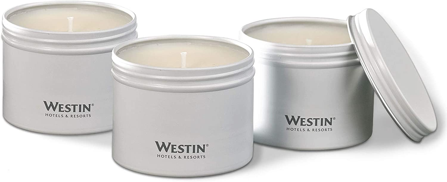 - Set of 3 Hand-Poured 4 oz Signature White Tea Scent Westin White Tea Candle in a Tin Soy Candle in Tin