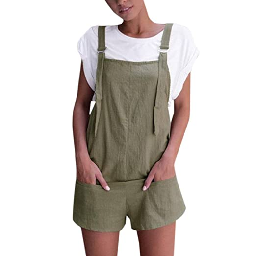 6857df486b Jumpsuits for Women Elastic Waist Summer Casual Dungarees Linen Cotton  Pockets Rompers Playsuit Shorts Pants (