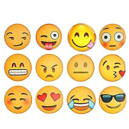 Set de 12 imanes para nevera o pizarra blanca con diseños 3D de emoticonos, divertidos, ideales para la oficina