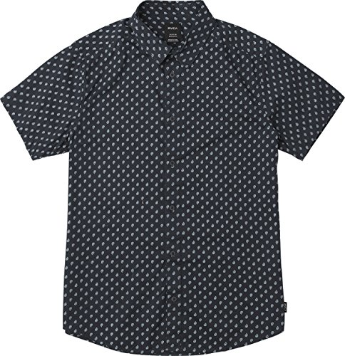 RVCA Men's Mini Paisley Short Sleeve Woven Button UP Shirt, New Navy, XL by RVCA