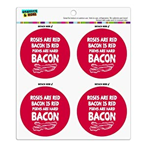 Poems are Hard Bacon Refrigerator Fridge Locker Vinyl Circle Magnet Set