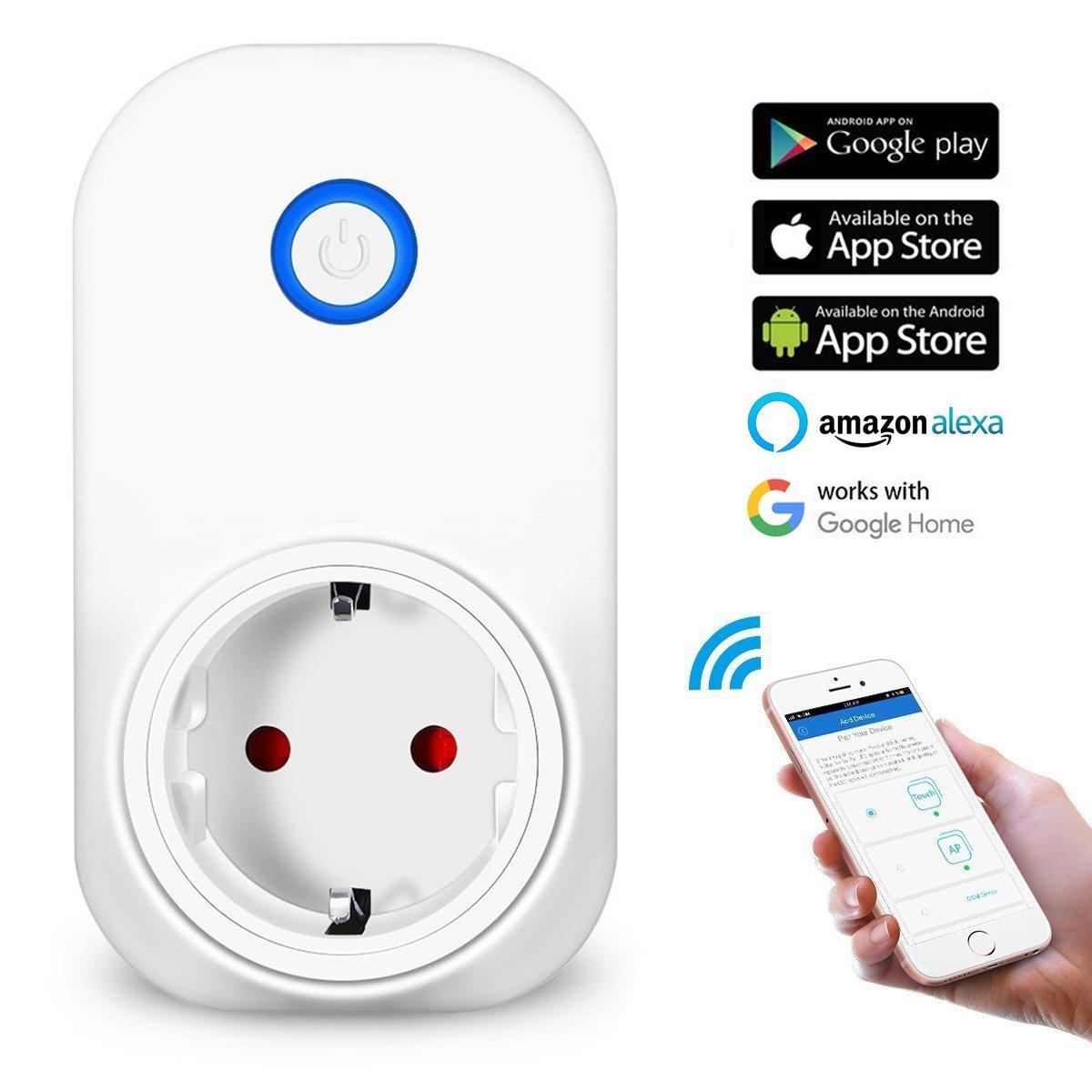 WLAN Steckdose, MECO Smart Wifi Steckdose intelligente Home Funksteckdose Funktioniert mit  Alexa (Echo und Echo Dot) und Google Home App Steuerung fü r IOS und Android