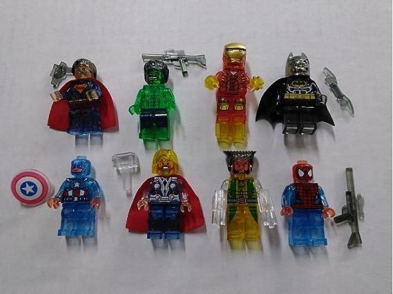 Lego Marvel DC 8 Character Ironman Spiderman superman batman thor hulk wolverine
