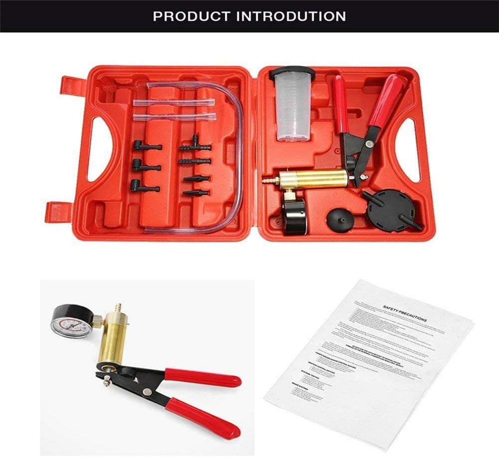 Adapters and Case for Vehicles Truck and Motorbike Diagnosis One Person Self Brake Exhaust Tester System Queta 2 in 1 Brake Bleeder Kit Hand held Vacuum Pump Test Set with Vacuum Gauge