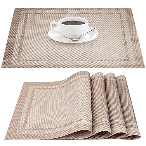 IHUIXINHE Placemats, Heat-resistant Non-slip Stain-resistant Washable PVC Place Mats, Woven Vinyl Double Border Table Mat, Set of 4 (Beige)