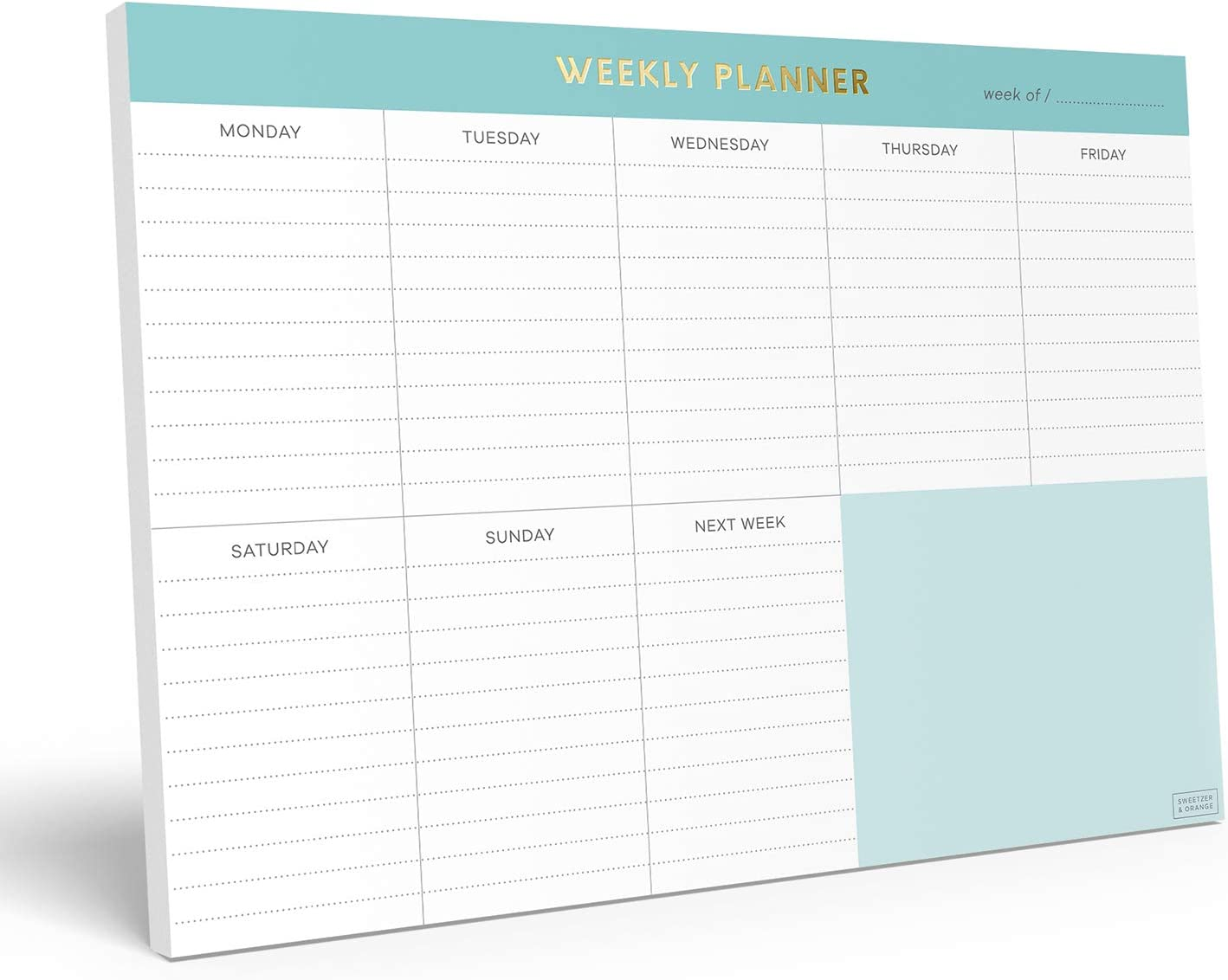 """Sweetzer & Orange Weekly to Do List Notepad. Minty Gold Weekly Planner Pad with Daily Planner Agenda Squares. 7x10"""" Day Planner 2020 2021 - Student Planner, Work Planner and Checklist Note Pad."""