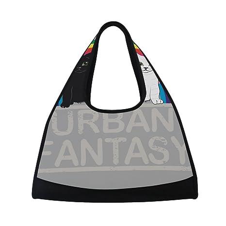 TIZORAX Urban Fantasy Unicornio Gatos Rainbow Bolsa de Viaje Duffel Bolsa Deportiva Gimnasio Bolso Bandolera