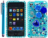 Pearl Flowers Blue Rhinestones Protector 3D Case for iPod touch 4 / 4G / 4th Generation-Aqua Blue 4.5 inches
